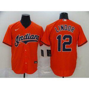 Cleveland Indians Francisco Lindor Orange Jersey